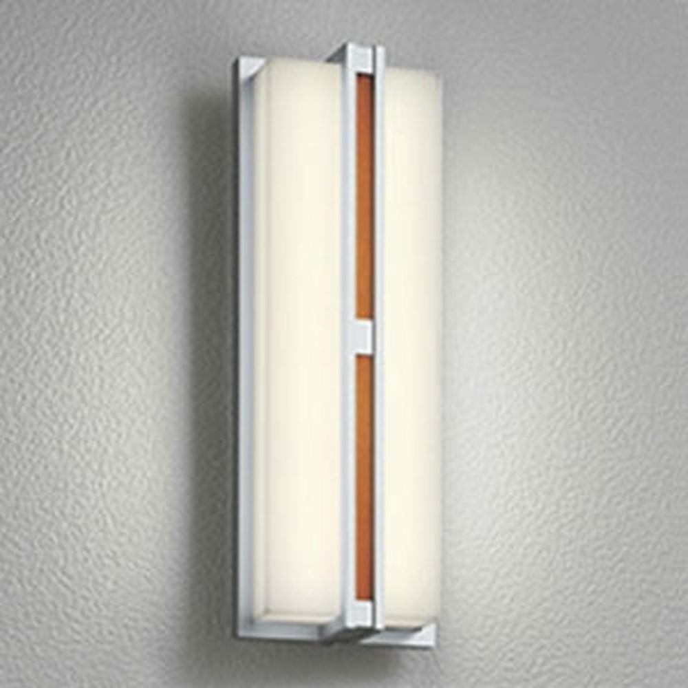 オーデリック LED一体型ポーチライト 防雨型 フラットタイプ 白熱灯60W相当 電球色 人感センサ付 チーク色木調 OG254252