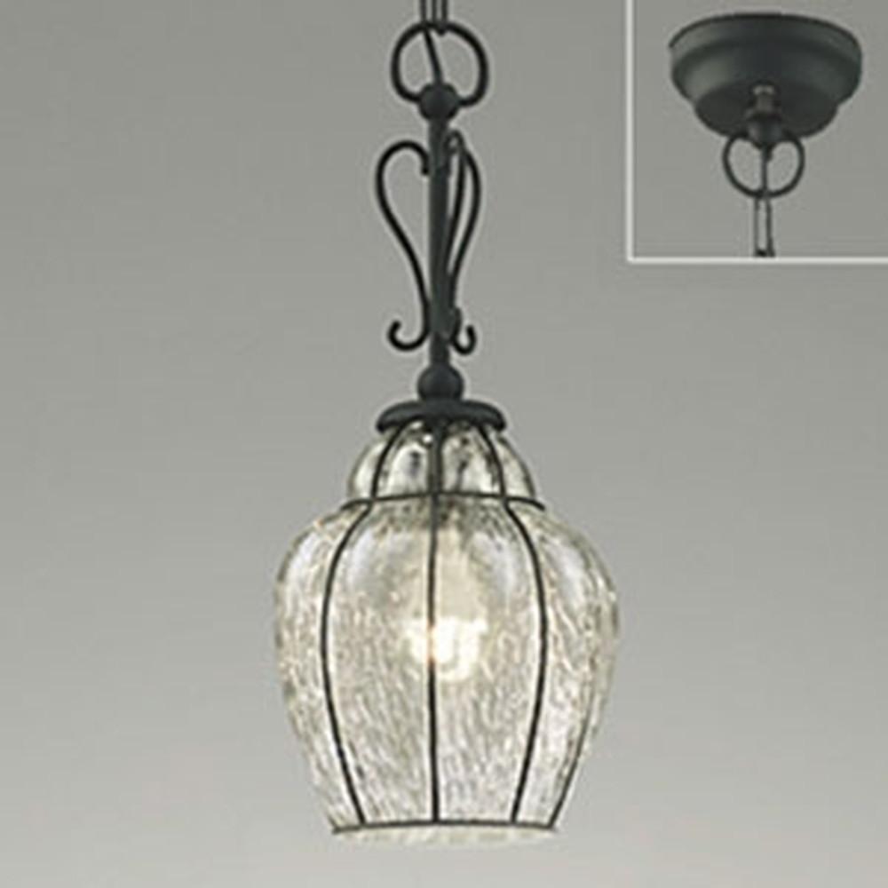 オーデリック LEDペンダントライト 簡易防雨型 軒下取付専用 白熱灯40W相当 電球色 透明・模様入 OP034264LD