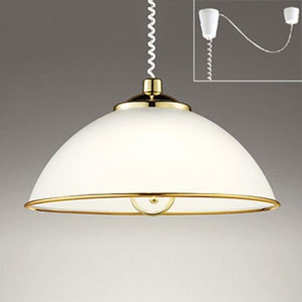 オーデリック LEDペンダントライト 手動昇降型 白熱灯100W×2灯相当 電球色 プルスイッチ付 OP216465LD