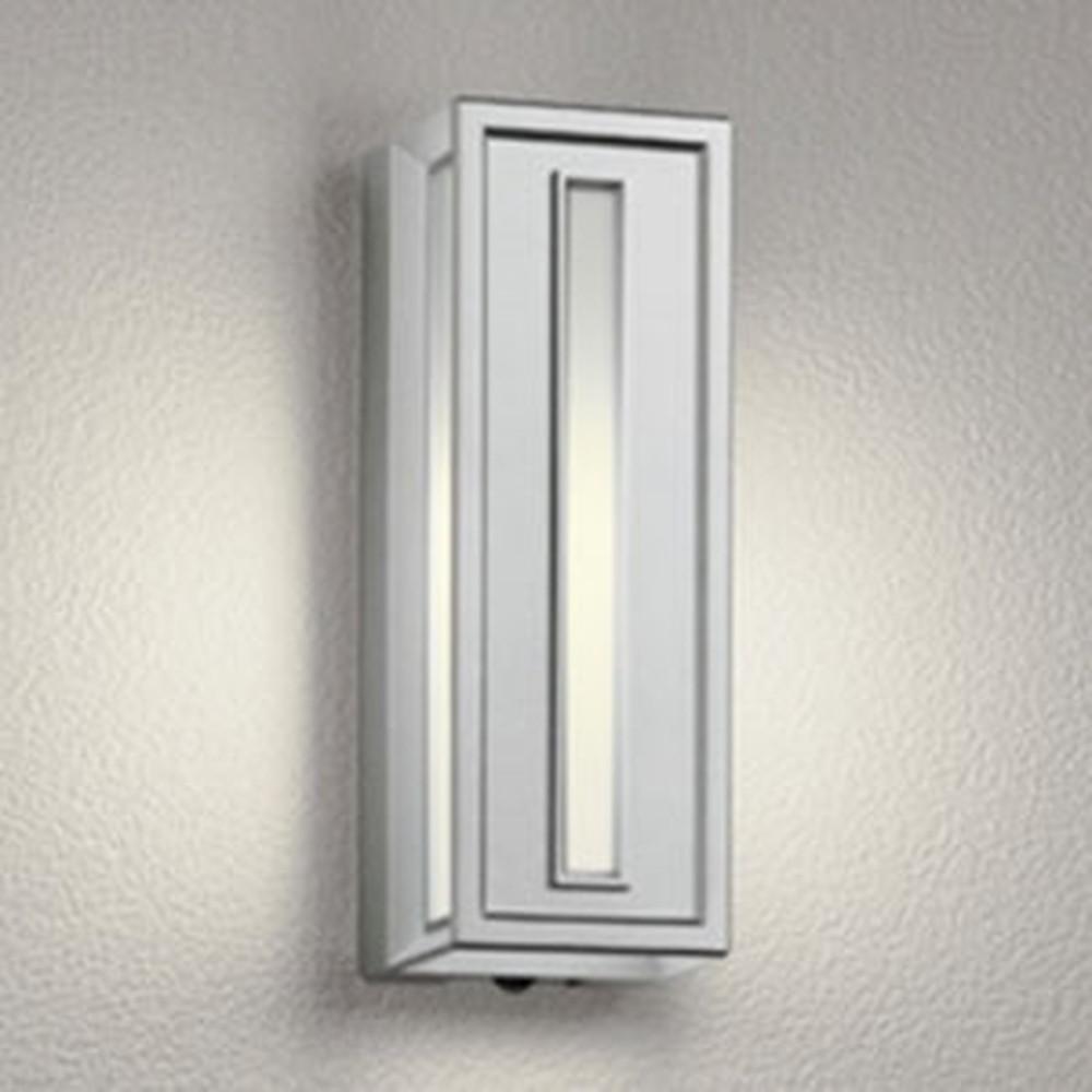 オーデリック LEDポーチライト 防雨型 白熱灯40W相当 電球色 人感センサ付 マットシルバー OG041713LC