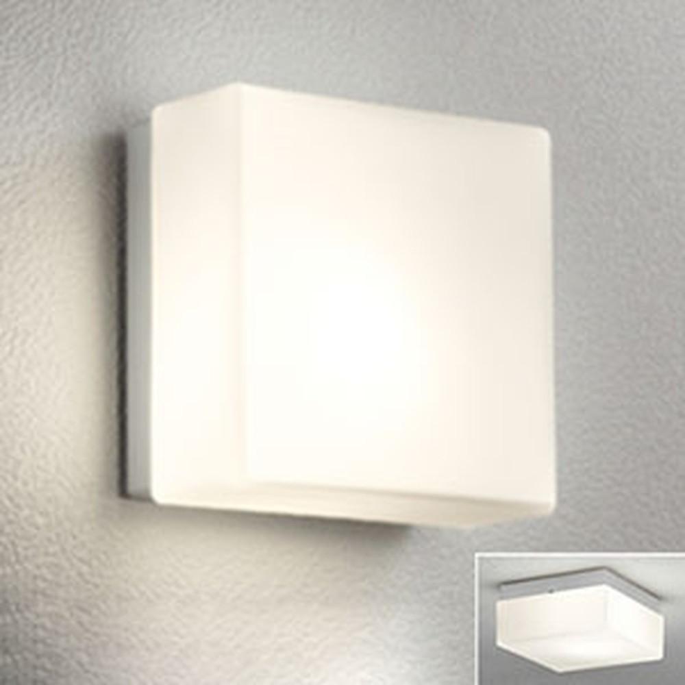 オーデリック LEDポーチライト 防雨型 壁面・天井面取付兼用 白熱灯40W相当 電球色 別売センサ対応 マットシルバー OG041661LC