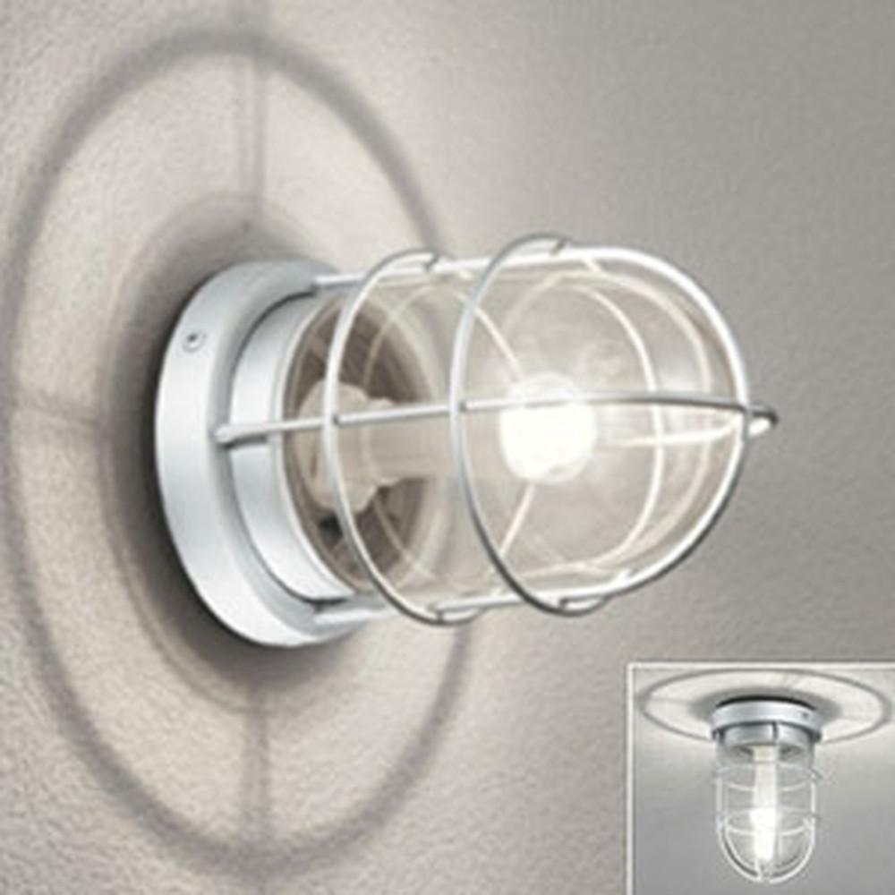 オーデリック LED門柱灯 防雨・防湿型 壁面・天井面・門柱取付兼用 白熱灯40W相当 電球色 別売センサ対応 マットシルバー OG041602LC