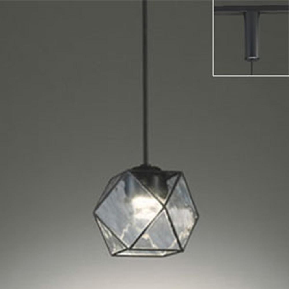 オーデリック LEDペンダントライト ライティングレール取付専用 白熱灯60W相当 電球色 調光タイプ 波模様入 OP252358