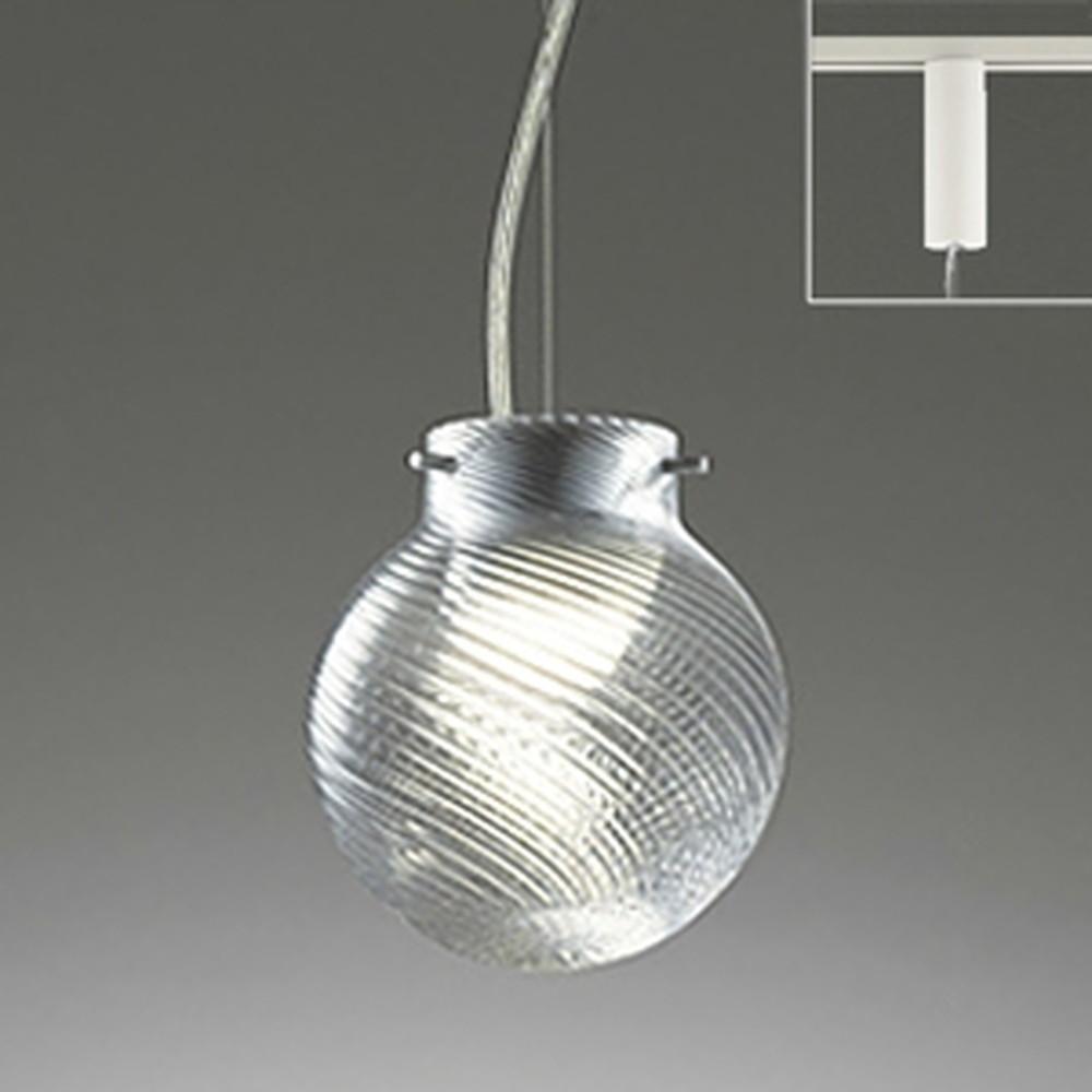 オーデリック LED一体型ペンダントライト 《made in NIPPON》 ライティングレール取付専用 白熱灯60W相当 電球色 調光 斜めモールガラス ワイヤー収納フレンジ付 OP252214P1