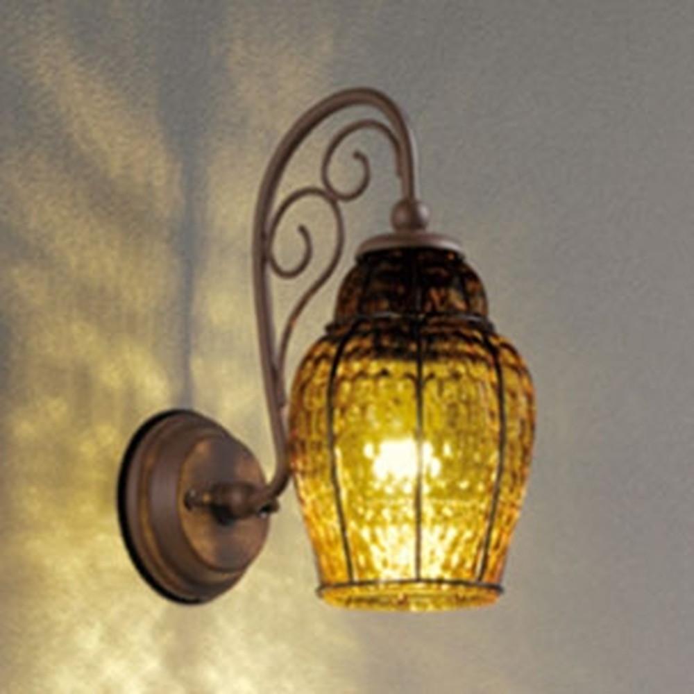 オーデリック LEDポーチライト 防雨型 白熱灯40W相当 電球色 別売センサ対応 セピア・模様入 OG254482LC