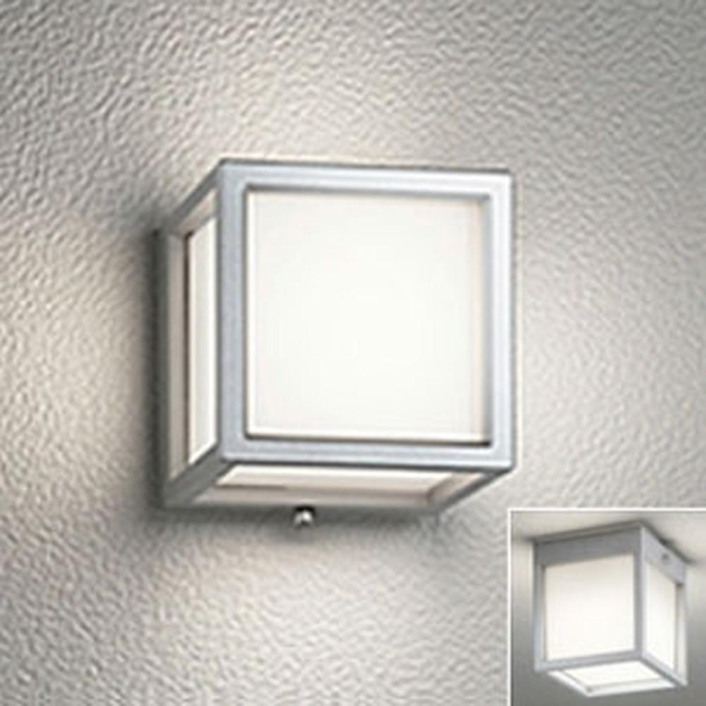 オーデリック LED一体型ポーチライト 防雨・防湿型 壁面・天井面・傾斜面取付兼用 白熱灯60W相当 電球色 マットシルバー OG254612