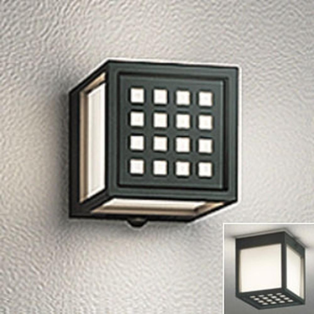 オーデリック LED一体型ポーチライト 防雨・防湿型 壁面・天井面・傾斜面取付兼用 白熱灯60W相当 電球色 黒 OG254614