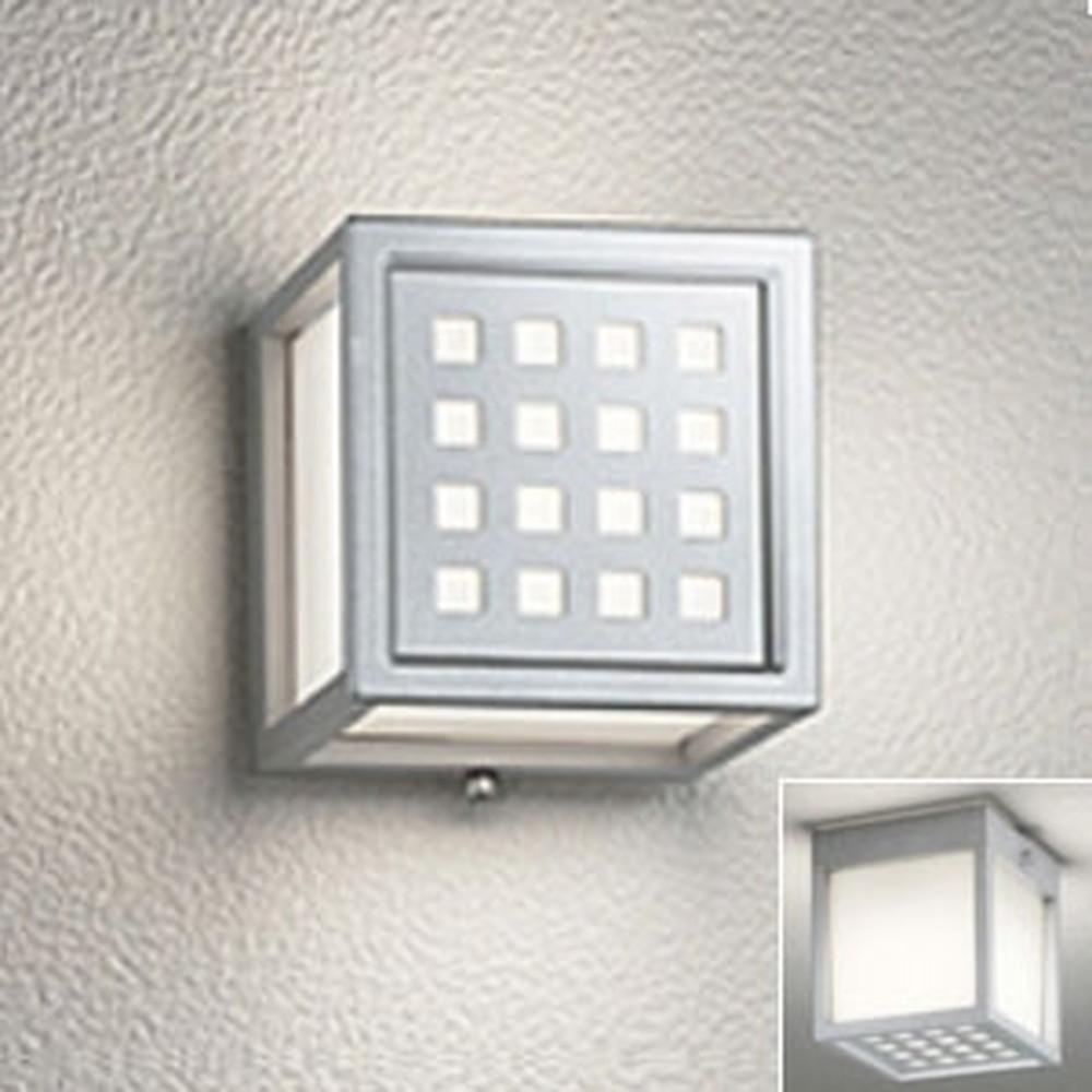 オーデリック LED一体型ポーチライト 防雨・防湿型 壁面・天井面・傾斜面取付兼用 白熱灯60W相当 電球色 マットシルバー OG254616