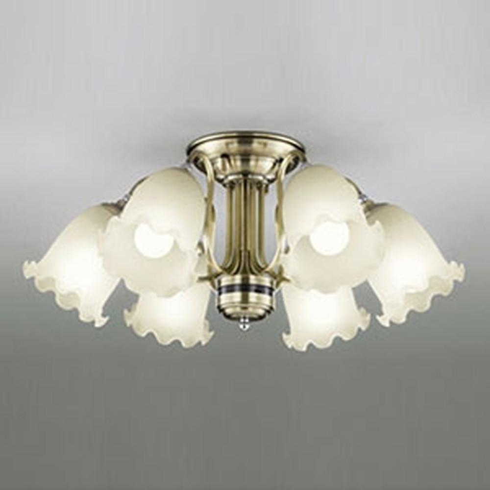 オーデリック LEDシャンデリア ~10畳用 8.6W×6灯タイプ 電球色⇔昼白色 光色切替調光タイプ リモコン付 OC006927PC
