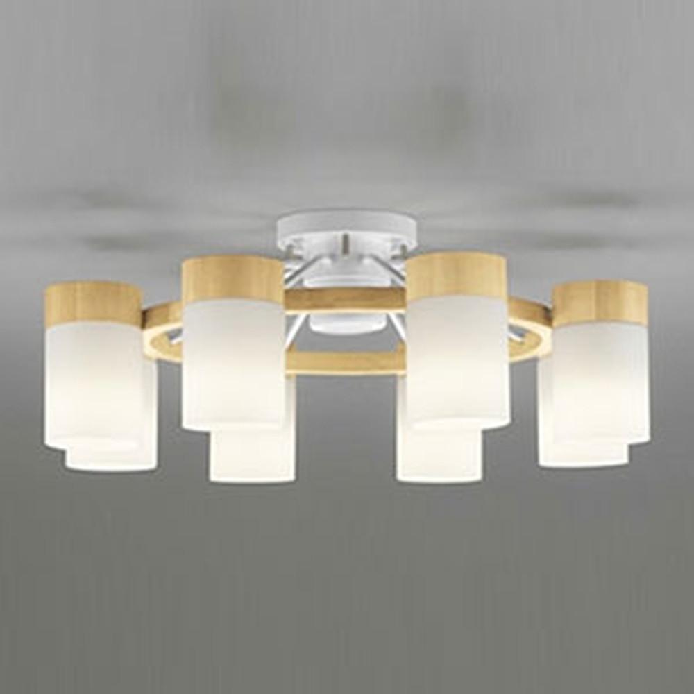 オーデリック LEDシャンデリア ~12畳用 9.8W×8灯タイプ 電球色 調光タイプ リモコン付 ナチュラル OC257061LC
