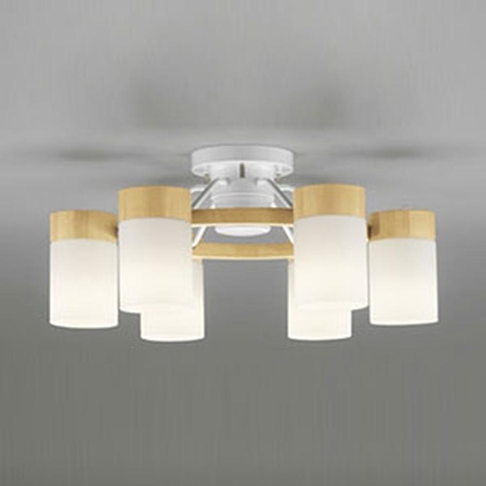 オーデリック LEDシャンデリア ~10畳用 8.6W×6灯タイプ 電球色⇔昼白色 光色切替調光タイプ リモコン付 ナチュラル OC257063PC
