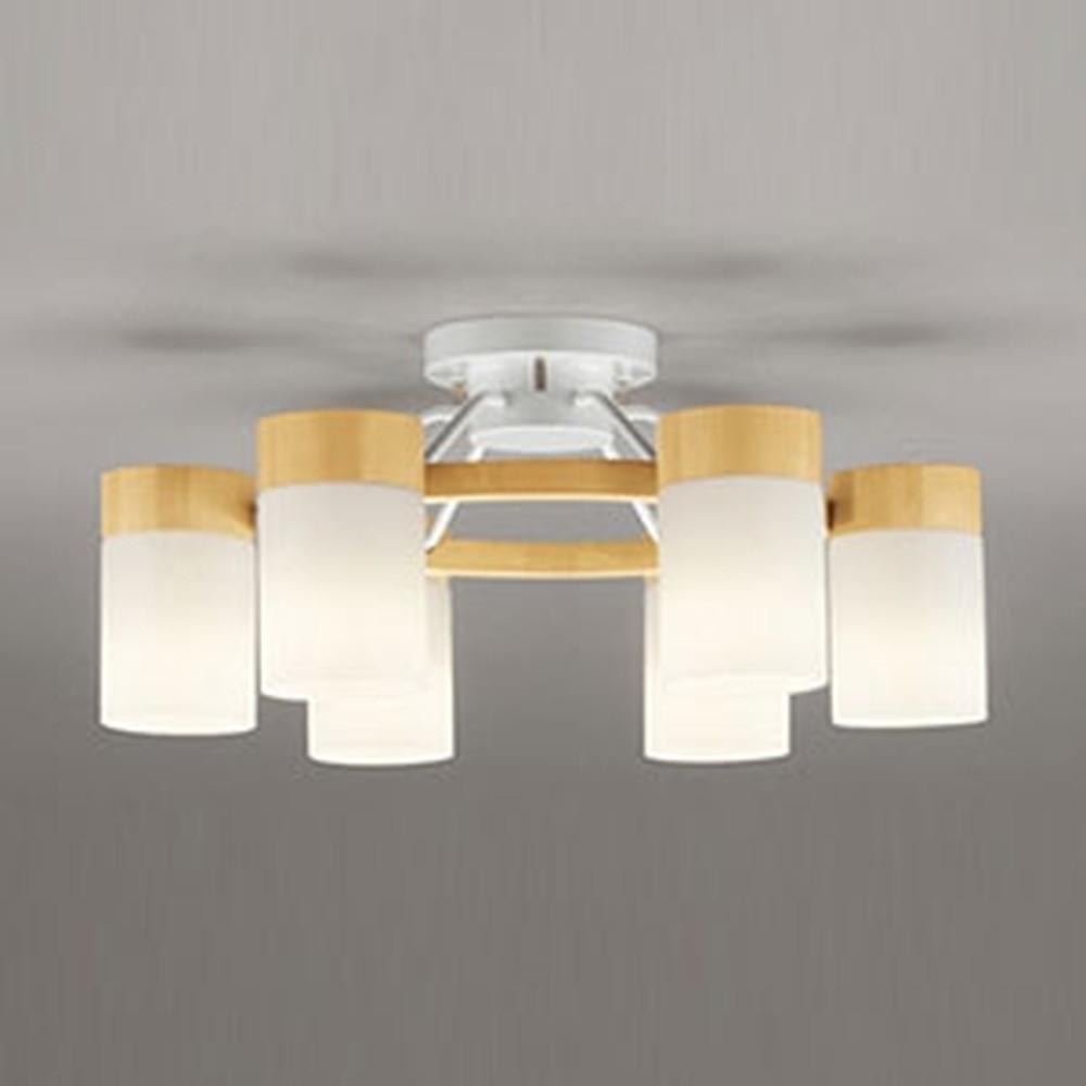 オーデリック LEDシャンデリア ~10畳用 8.6W×6灯タイプ 電球色⇔昼白色 光色切替調光タイプ ナチュラル OC257064PC