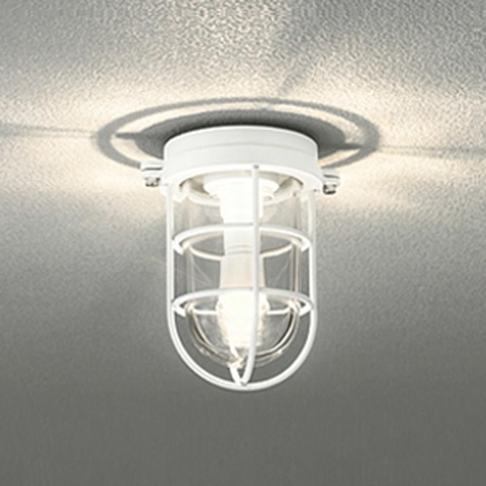 オーデリック LEDブラケットライト 防雨・防湿型 壁面・天井面・門柱取付兼用 白熱灯40W相当 電球色 オフホワイト OG254607LD