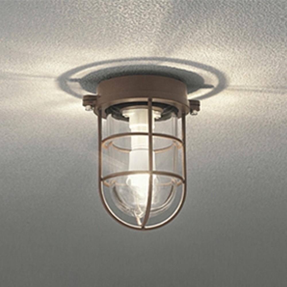 オーデリック LEDブラケットライト 防雨・防湿型 壁面・天井面・門柱取付兼用 白熱灯40W相当 電球色 鉄錆 OG254609LD