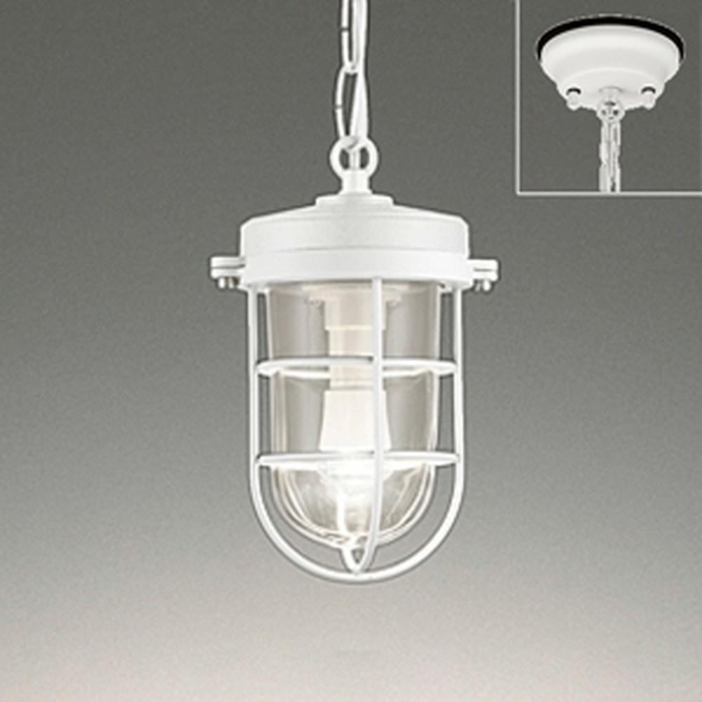 オーデリック LEDペンダントライ ト 防雨型 直付専用 軒下取付専用 白熱灯40W相当 電球色 オフホワイト OP252408LD