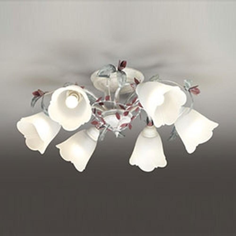 オーデリック LEDシャンデリア ~6畳用 5.7W×6灯タイプ 電球色⇔昼白色 光色切替調光タイプ 赤紫・灰緑色飾付 OC257074PC