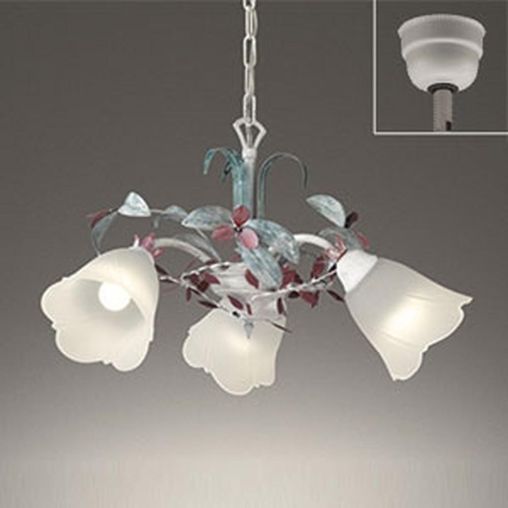 オーデリック LEDシャンデリア 白熱灯60W×3灯相当 電球色 赤紫・灰緑色飾付 OC257076LD