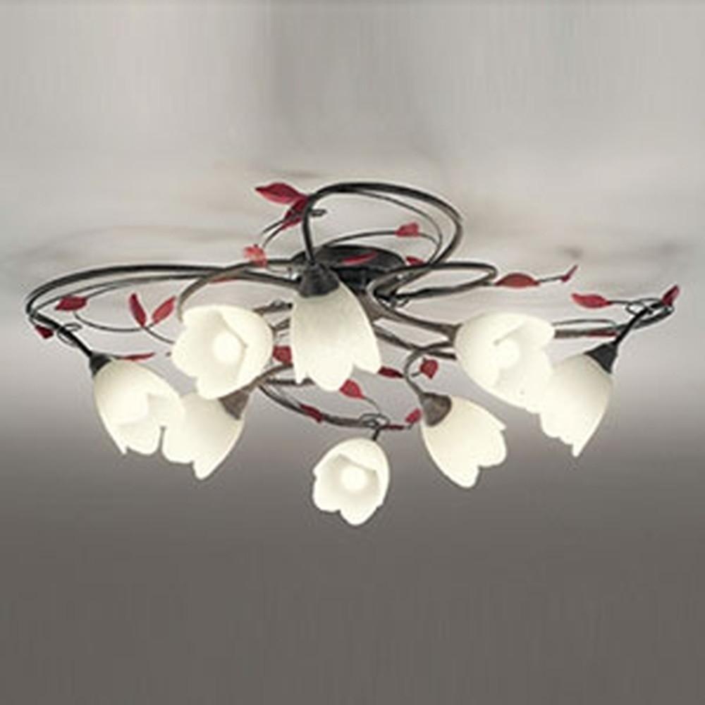 オーデリック LEDシャンデリア ~8畳用 5.7W×8灯タイプ 電球色⇔昼白色 光色切替調光タイプ えんじ色飾付 OC257025PC