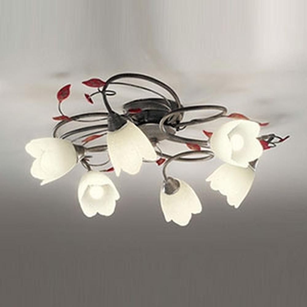 オーデリック LEDシャンデリア ~6畳用 6W×6灯タイプ 電球色 調光タイプ えんじ色飾付 OC257026LC