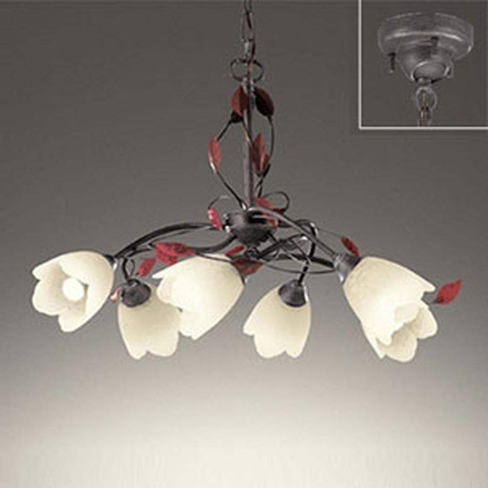 オーデリック LEDシャンデリア ~6畳用6W×6灯タイプ 電球色 調光タイプ 電動昇降装置対応 えんじ色飾付 OC257028LC