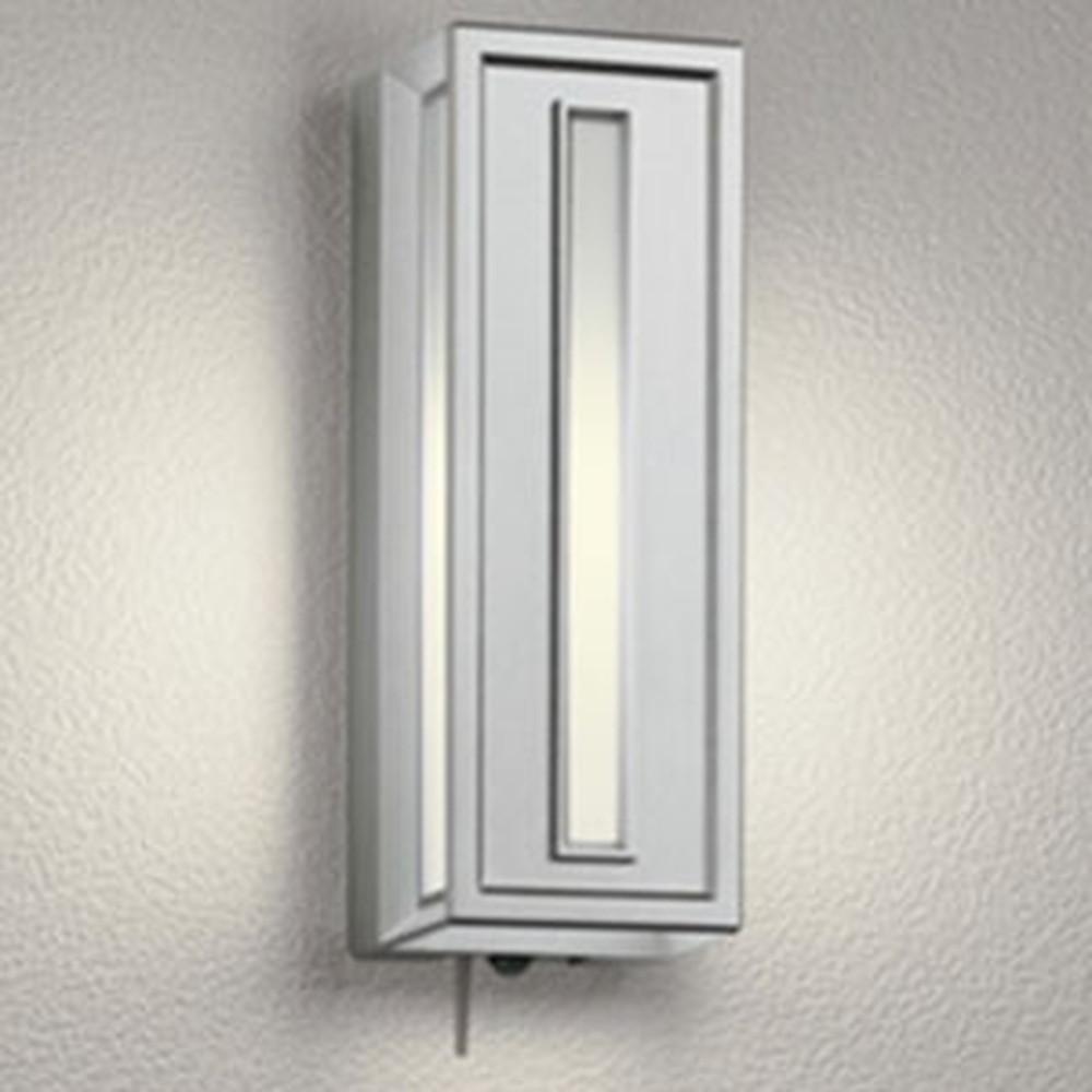 オーデリック LEDポーチライト 防雨型 白熱灯40W相当 電球色 人感センサー・Bluetooth®通信アンテナ付 マットシルバー OG254848BC