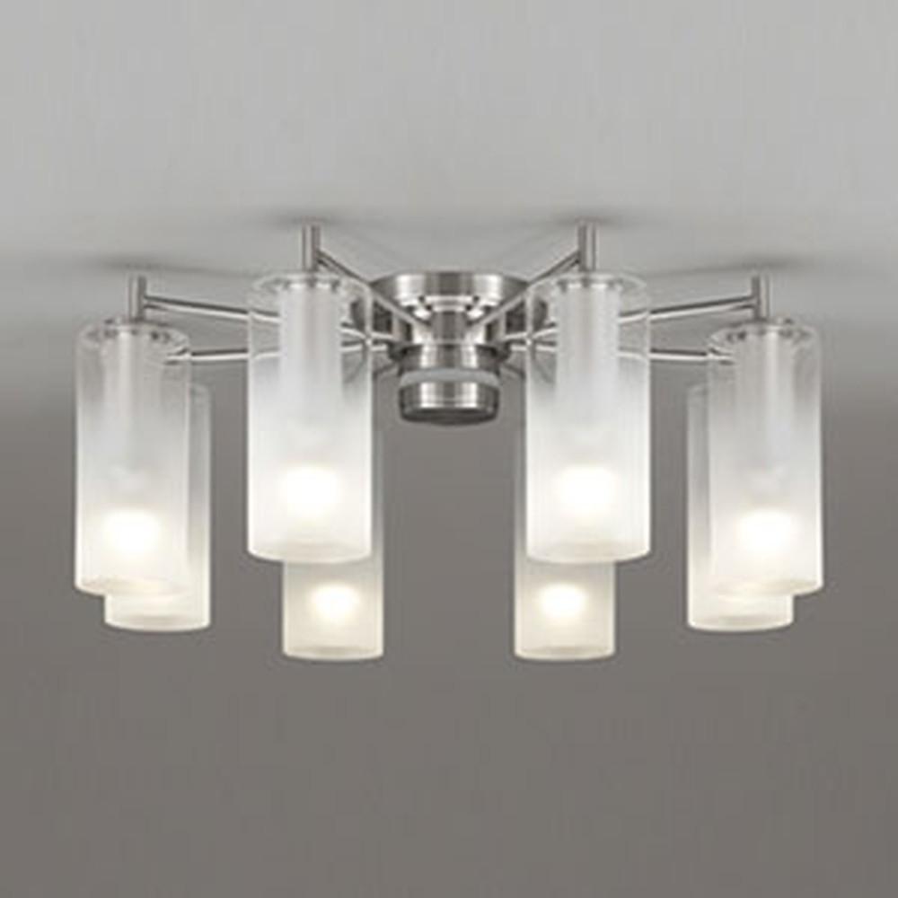 オーデリック LEDシャンデリア 《AQUA Mist》 ~10畳用 5.7W×8灯タイプ 電球色⇔昼白色 光色切替調光タイプ リモコン付 OC257110PC