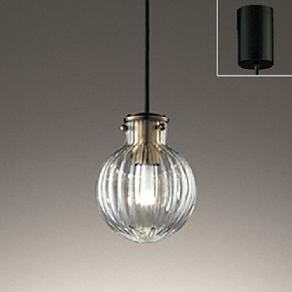 オーデリック LEDペンダントライト 引掛シーリングタイプ 白熱灯30W相当 電球色 リブ入ガラス OP252477LD1