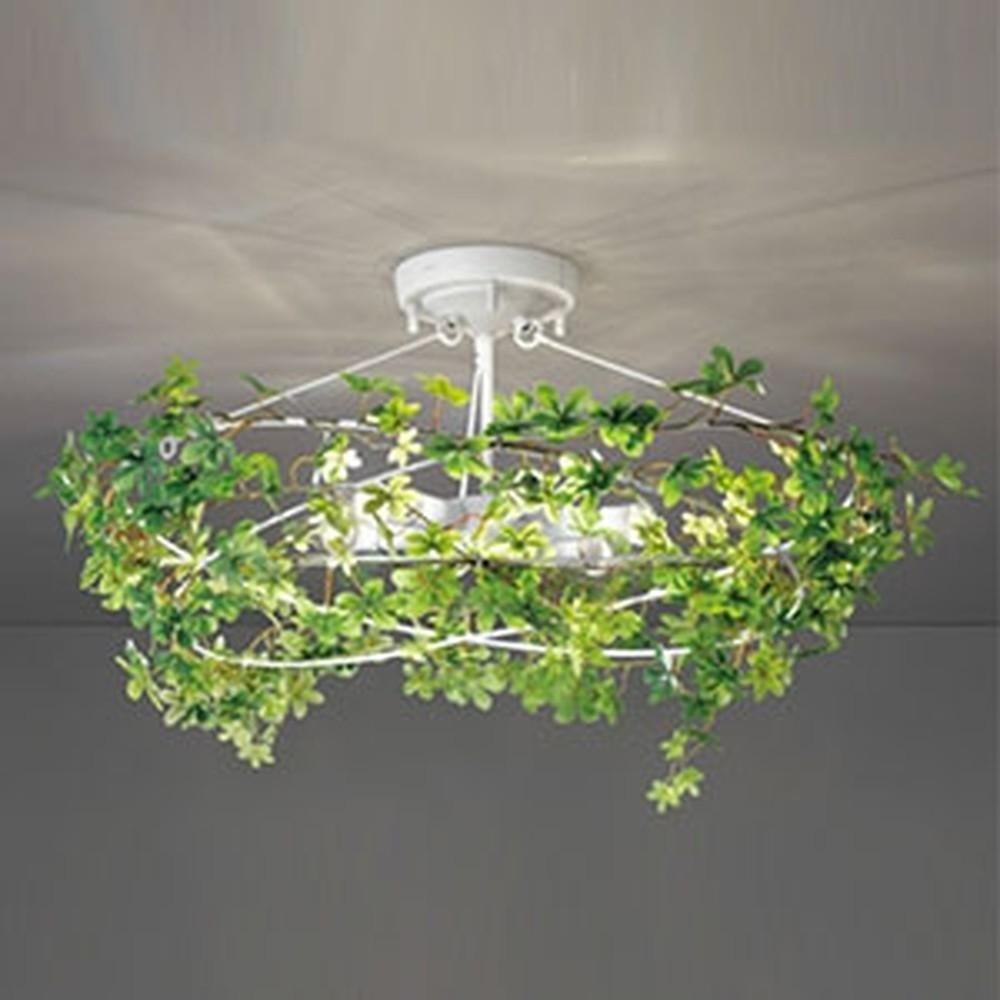 オーデリック LEDシャンデリア 白熱灯40W×6灯相当 電球色 調光タイプ フェイクグリーン付 OC257023LC
