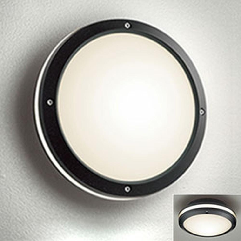 オーデリック LEDポーチライト 防雨型 壁面・天井面取付兼用 白熱灯40W相当 電球色 別売センサ対応 黒 OG041631LC1