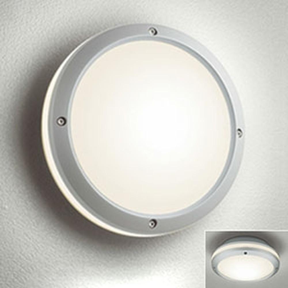 オーデリック LEDポーチライト 防雨型 壁面・天井面取付兼用 白熱灯40W相当 電球色 別売センサ対応 マットシルバー OG041633LC1