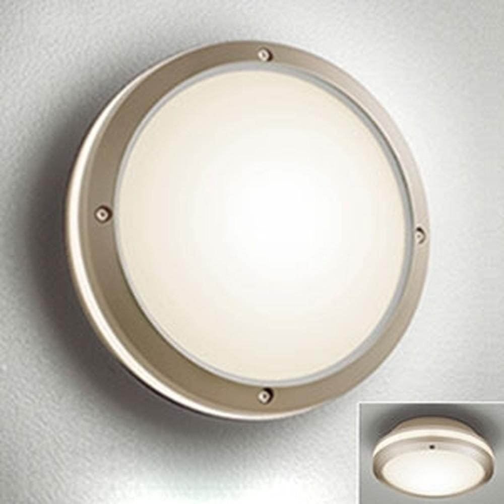 オーデリック LEDポーチライト 防雨型 壁面・天井面取付兼用 白熱灯40W相当 電球色 別売センサ対応 マットウォームシルバー OG041635LC1