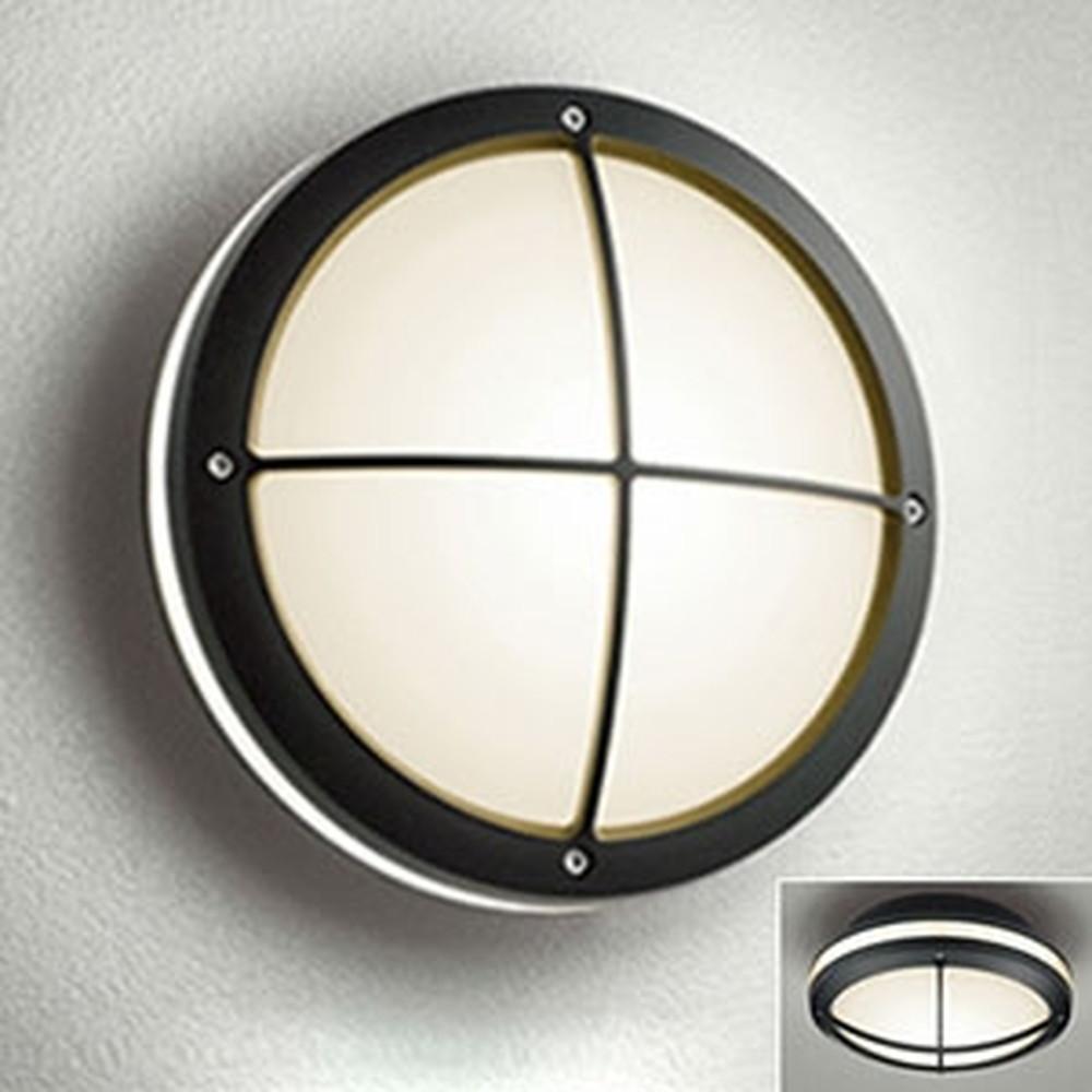 オーデリック LEDポーチライト 防雨型 壁面・天井面取付兼用 白熱灯40W相当 電球色 別売センサ対応 黒 OG041637LC1
