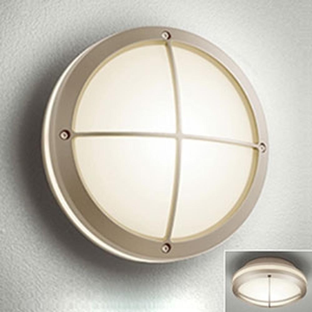 オーデリック LEDポーチライト 防雨型 壁面・天井面取付兼用 白熱灯40W相当 電球色 別売センサ対応 マットウォームシルバー OG041641LC1