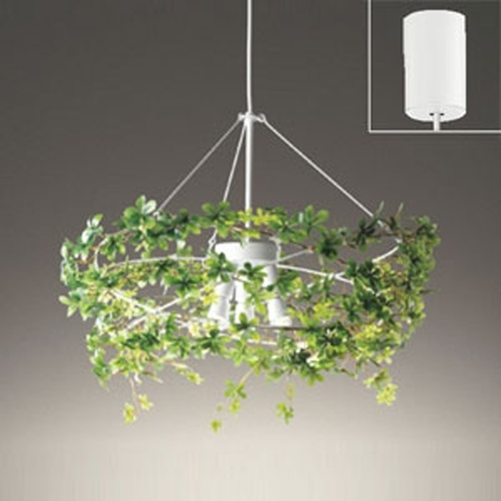 オーデリック LEDシャンデリア 白熱灯40W×3灯相当 電球色 調光タイプ フェイクグリーン・コード収納フレンジ付 OP252318LC