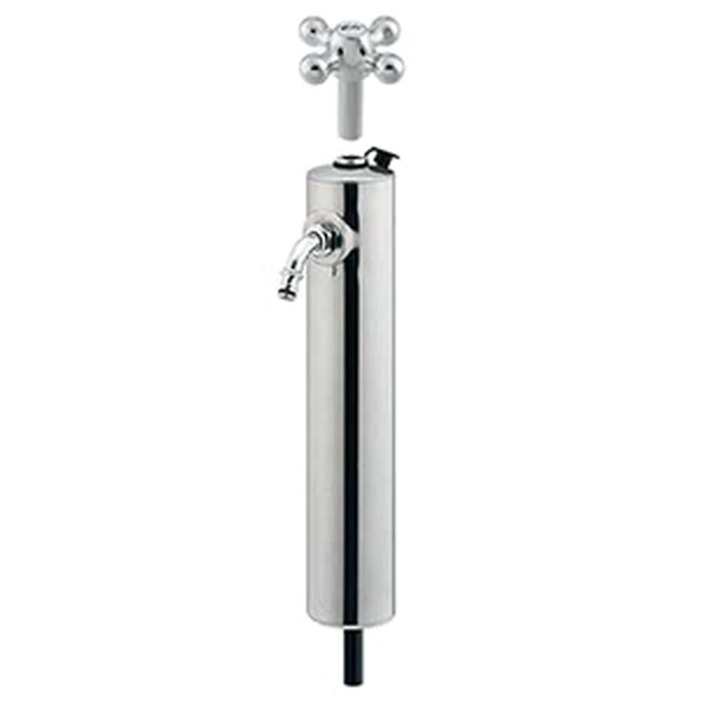 カクダイ 共用ステンレス水栓柱 ショート型 単水栓・下給水タイプ 固定コマ式 長さ420mm カギ付 鏡面仕上げ 624-082