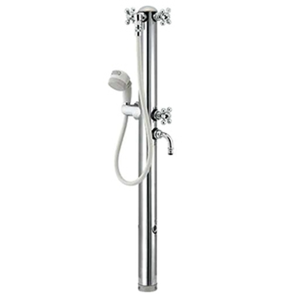 カクダイ ステンレス双口シャワー混合栓柱 ペット用 固定コマ式 ホース長さ0.8m 長さ1215mm 流量調節機能付 鏡面仕上げ 624-207