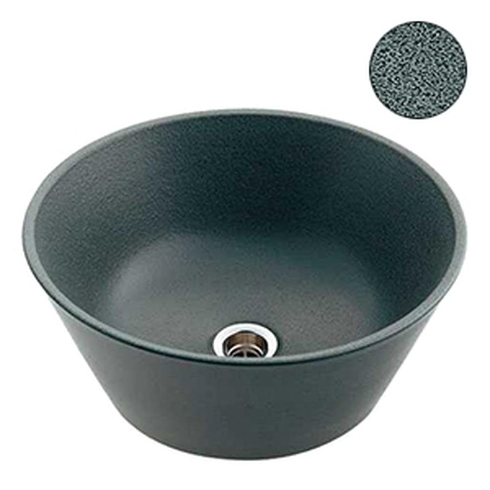 カクダイ 手水鉢 サイズφ350×150mm 排水金具付 ゴム栓なし 藍錆 624-944