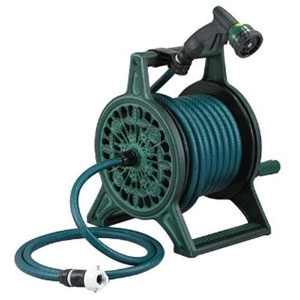カクダイ レトロホースリール 散水・屋外冷却用 グリーン 553-801