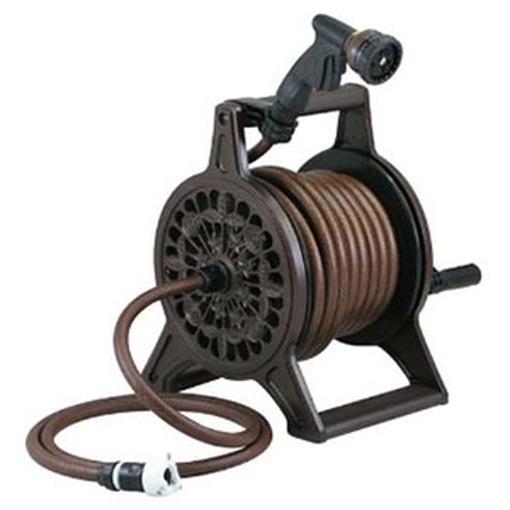 カクダイ レトロホースリール 散水・屋外冷却用 ブラウン 553-802