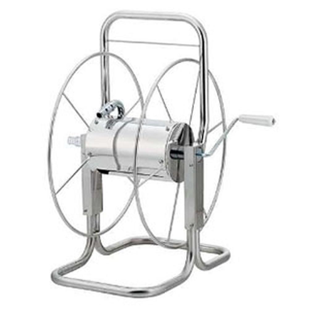 カクダイ ステンレスホースリール 散水・屋外冷却用 ホースバンド2個付 553-030