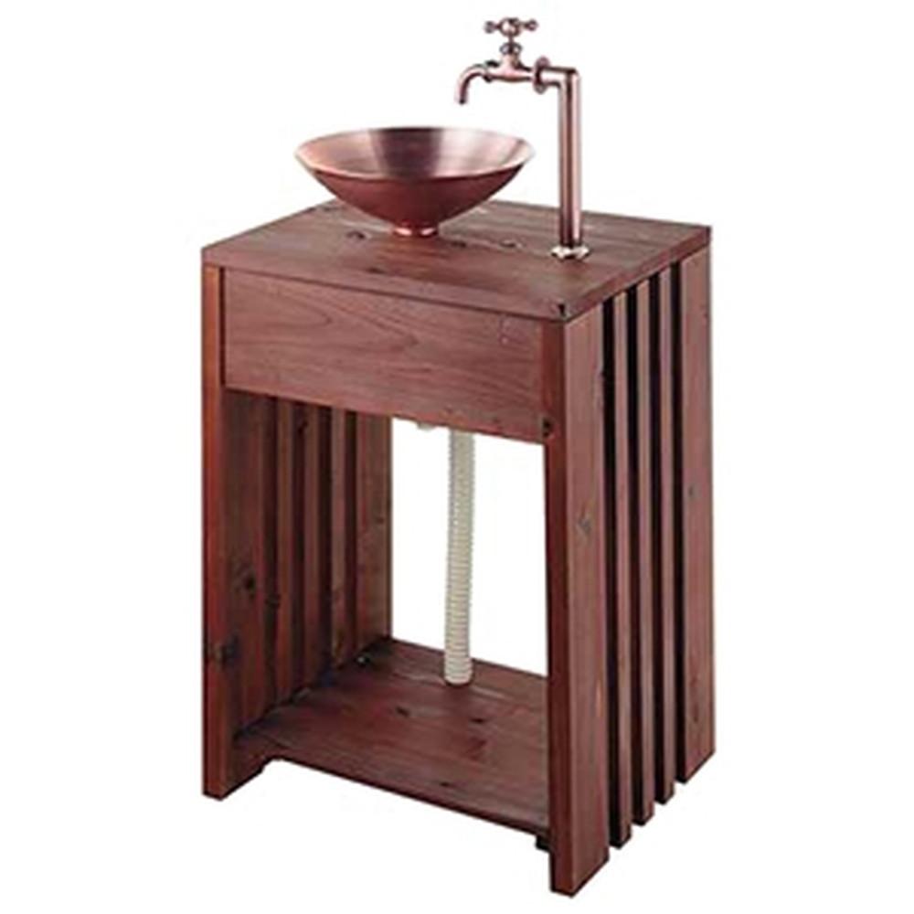 カクダイ 木製ガーデンシンク 単水栓タイプ 組立式 屋外用 万能ホーム水栓・水栓取付脚・排水金具・排水トラップ・棚板付 624-982