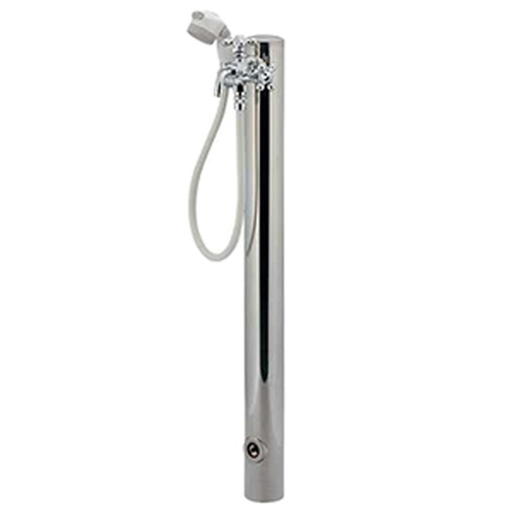 カクダイ ステンレスシャワー水栓柱 ペット用 ホース長さ0.8m 双口水栓・シャワーセット・流量調節機能付 鏡面仕上げ 624-043