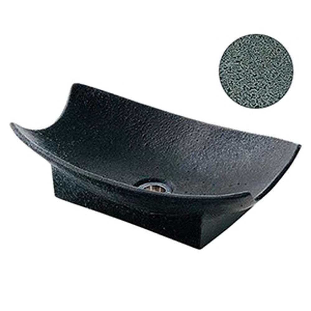 カクダイ 舟型手水鉢 サイズ420×240mm 排水金具付 ゴム栓なし 藍錆 624-932