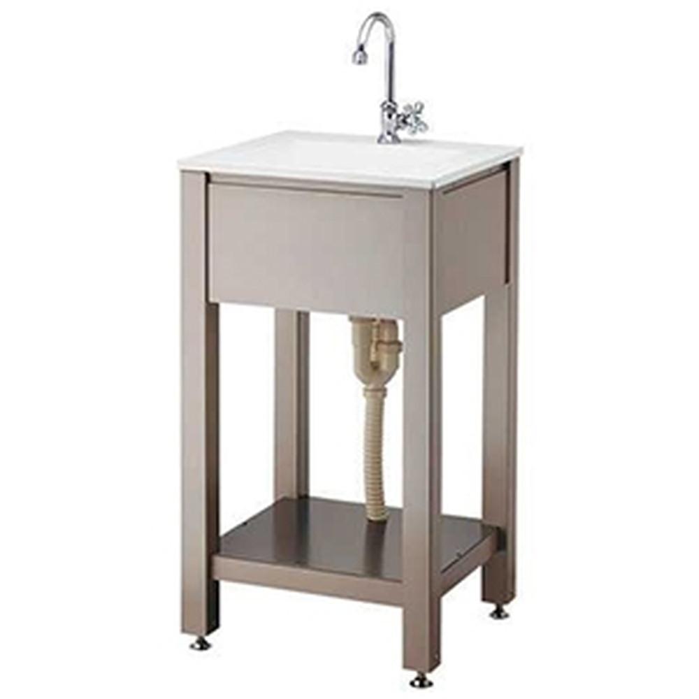 カクダイ ガーデンシンク 単水栓タイプ 組立式 屋外用 立形スワン水栓・排水金具・排水トラップ・ゴム栓・棚板付 624-981