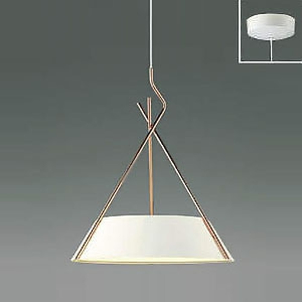 コイズミ照明 LED一体型ペンダントライト 《クロスフレーム》 フランジタイプ 白熱球60W×3灯相当 電球色 マットファインホワイト・コッパー AP47623L