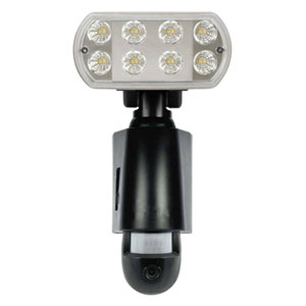 マザーツール LEDセンサーライトカメラ 1W高輝度LED×16基 MicroSDカード録画機能搭載 防滴タイプ 黒色 MT-SL03-B