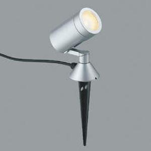 コイズミ照明 LED一体型スポットライト 防雨型 スパイク式 白熱球100W相当 電球色 プラグ付 シルバーメタリック AU42388L