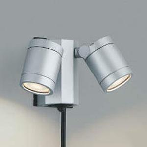 コイズミ照明 LED一体型スポットライト 防雨型 白熱球60W×2灯相当 電球色 タイマー付人感センサ付 プラグ付 シルバーメタリック AU43206L