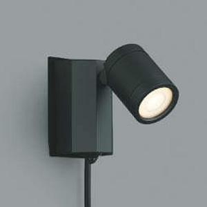 コイズミ照明 LED一体型スポットライト 防雨型 白熱球60W相当 電球色 タイマー付人感センサ付 プラグ付 黒 AU43207L