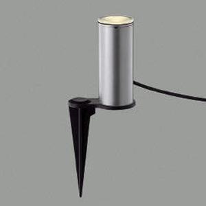 コイズミ照明 LED一体型ガーデンライト 防雨型 アッパー配光タイプ スパイク式 白熱球40W相当 電球色 プラグ付 シルバーメタリック AU45266L